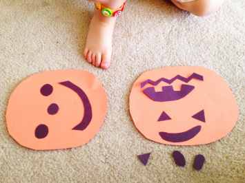 Making jack-o-lanterns for a pumpkin craft activity