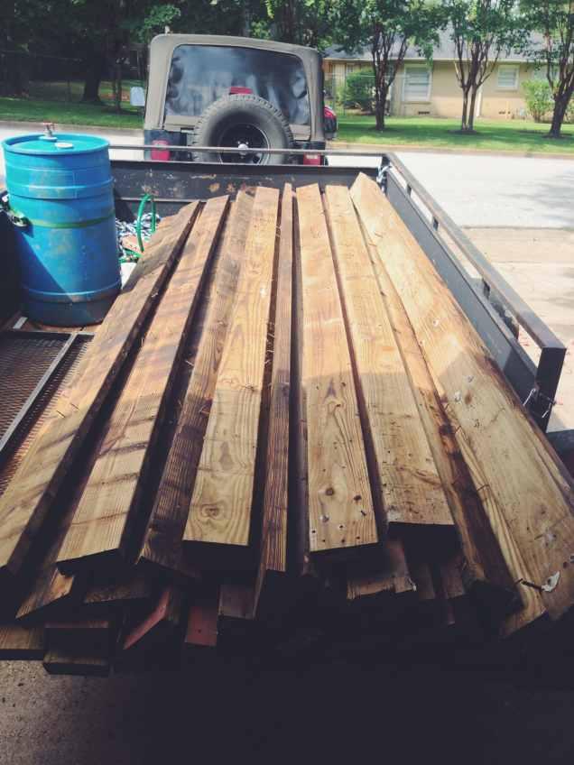 Reclaimed Lumber on a Trailer