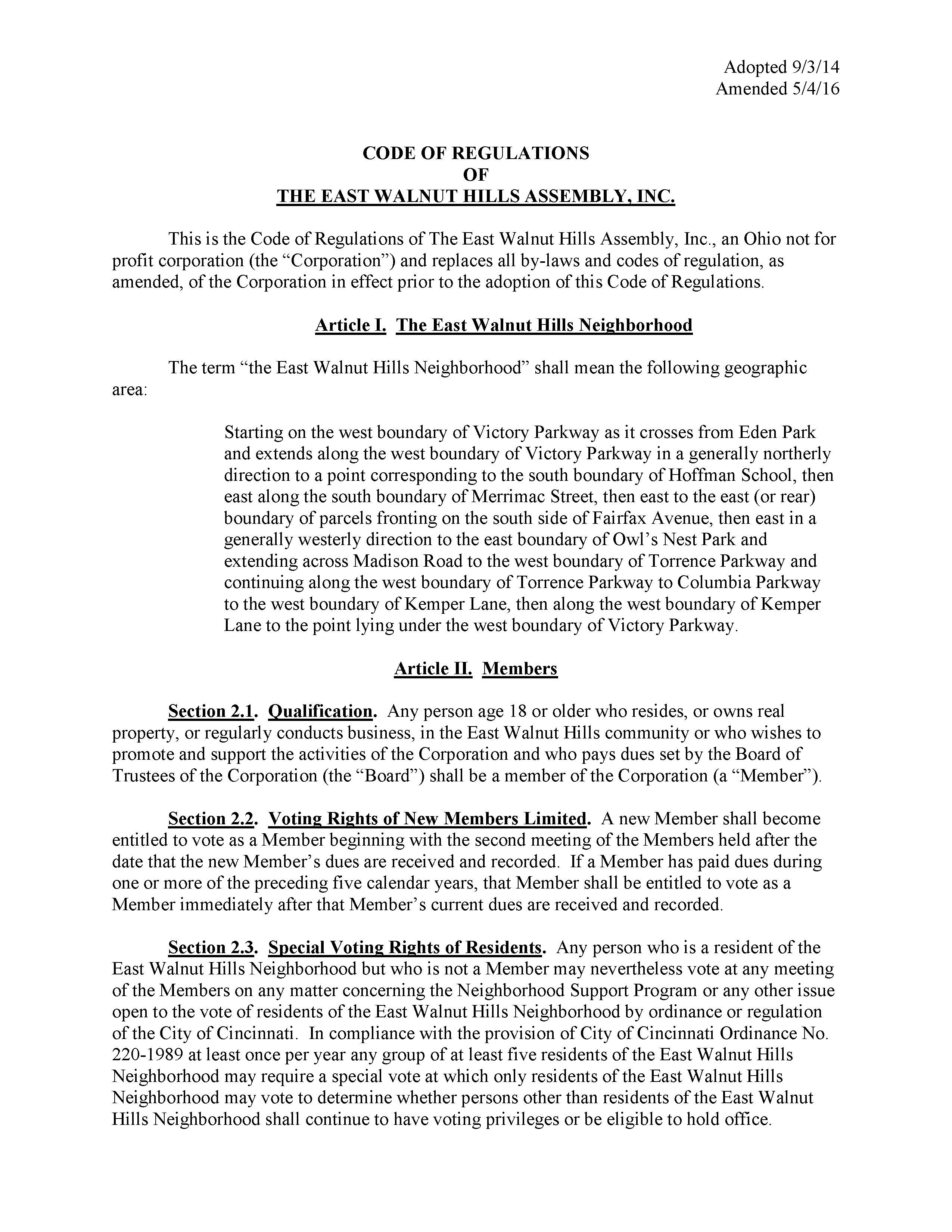 Code of Regulations, page 1