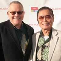"""Brad and George Takei attending """"One Night Only: Tim's 20th"""" on August 17, 2013 in Los Angeles, CA. Photo by Michael Palma."""