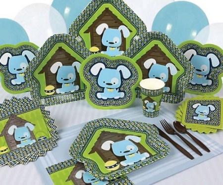 Blue puppy theme baby shower supplies