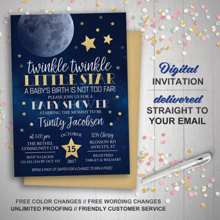 Printable Twinkle Little Star party invite