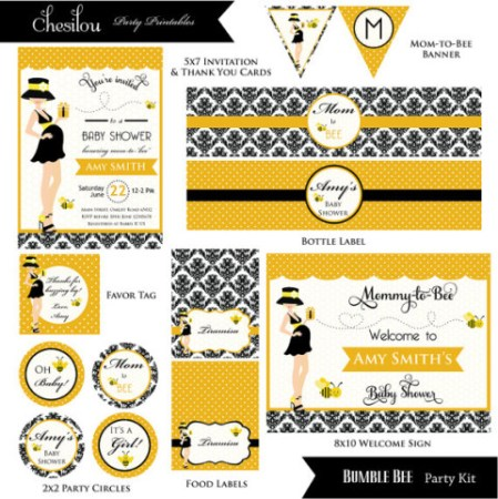 Digital Mom to Bee baby shower supplies