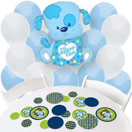 Blue Puppy Dog Baby Shower balloons decorations
