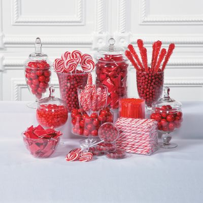 Christmas red baby shower candy bar buffet