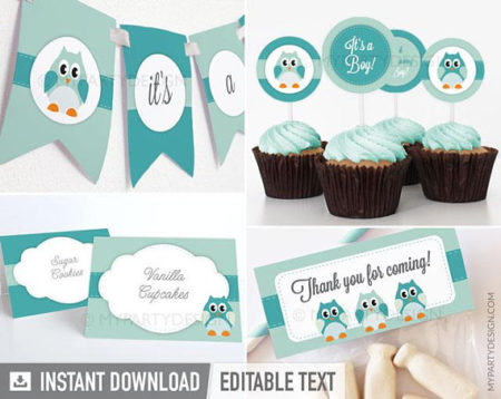 Teal Owl baby shower decorations download