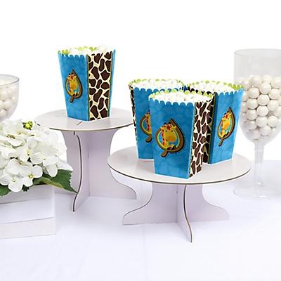 Blue Giraffe party popcorn box