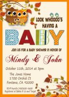 Owl baby shower invitation download