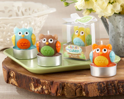 owl design baby shower candles favors