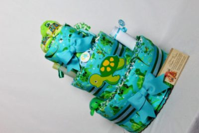 Sea turtles baby diaper cake gift