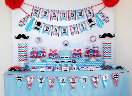 Printable Mustache Little Man baby shower supplies