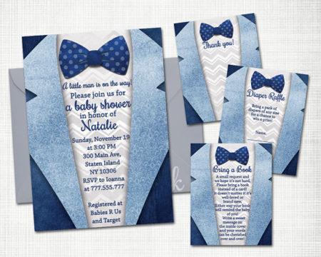 Little man Tuxedo baby shower invite and cards digital