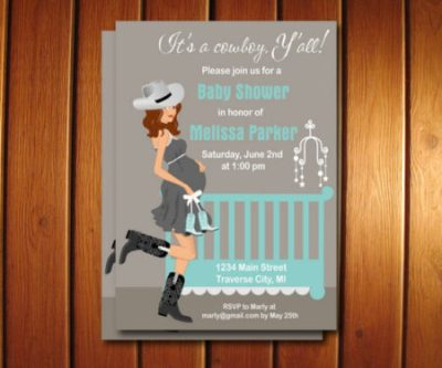 Cowboy Western mom to be baby shower invite