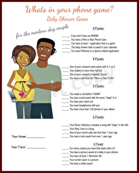 Printable What is in the phone couples baby shower game