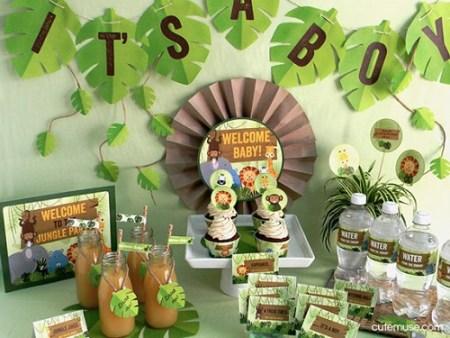 DIY Jungle Safari baby shower dessert table decorating kit