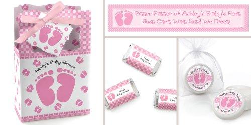Pink Baby footprints shower supplies