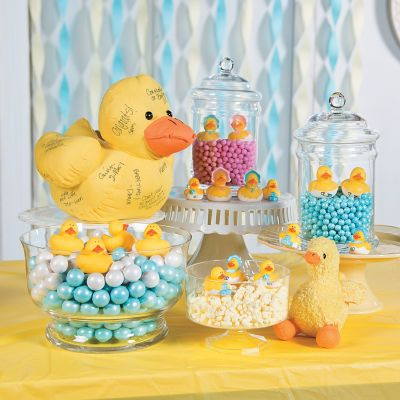 Rubber duckie baby shower candy buffet table decorating ideas
