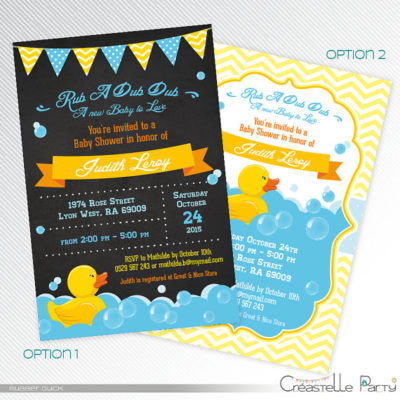 Printable Rubber ducky baby shower invites