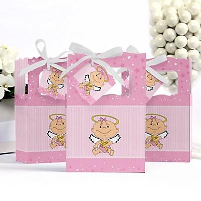 Baby angel pink shower favor box