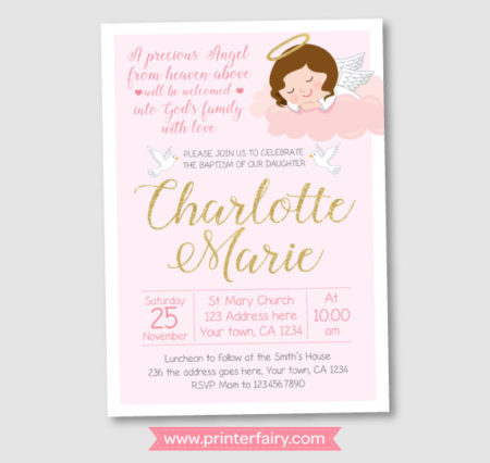 Girl Baby Angel Religious party invite download