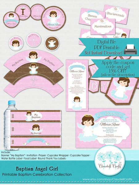 Printable Angel baby girl baptism Christening party package