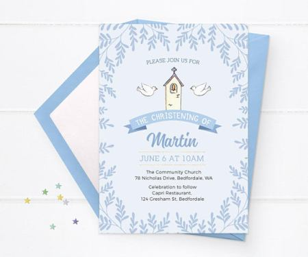 DIY Boy Baptism Christening invite