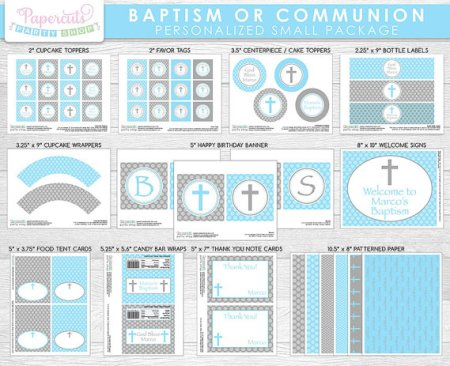 Print Baby Boys Baptism Communion party kit