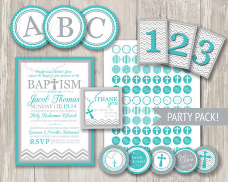 Digital Teal Christian baby party kit
