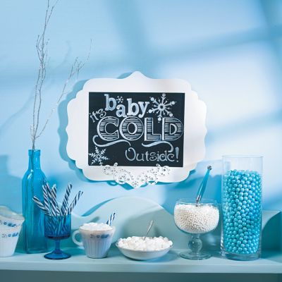 DIY Christmas baby shower candy buffet and sign