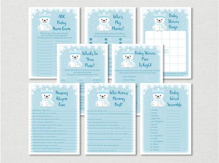 Winter Polar Bear baby shower game set download