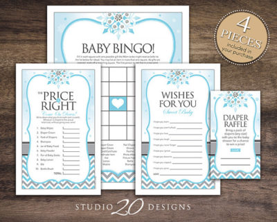Printable Winter baby shower game set
