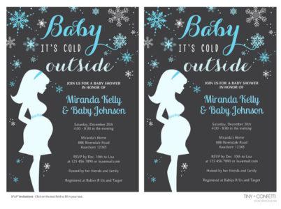 Printable snowflakes baby shower invitations