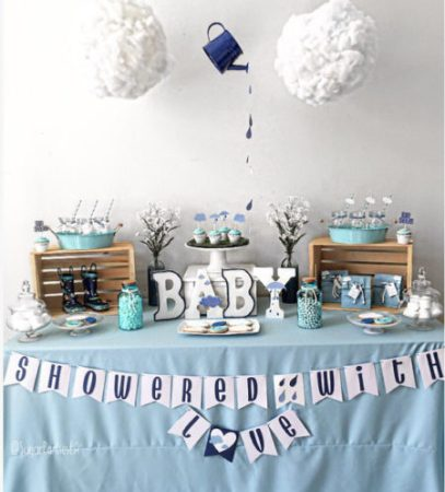 Shower her with love Winter baby shower sign banner digital