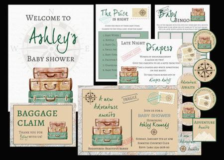 Travel world baby shower digital supplies