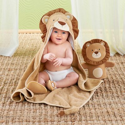 infant lion hooded robe plush blanket gift set