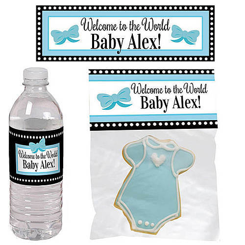 blue baby bows personalized party favors
