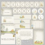 Pooh baby shower download party set