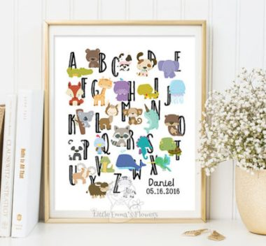 Alphabet animals printable nursery art