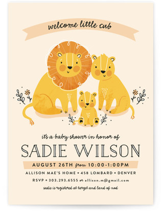 Lion family theme baby shower invitation