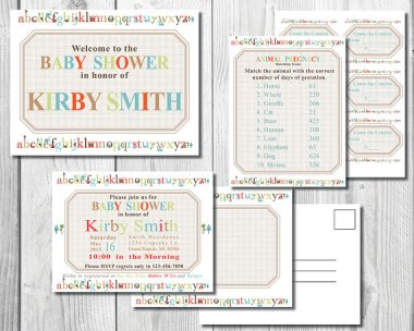 Alphabet Baby Shower Ideas printable party download