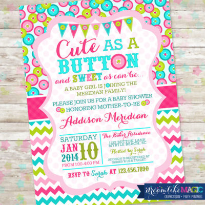printable cute as a button baby shower invitations