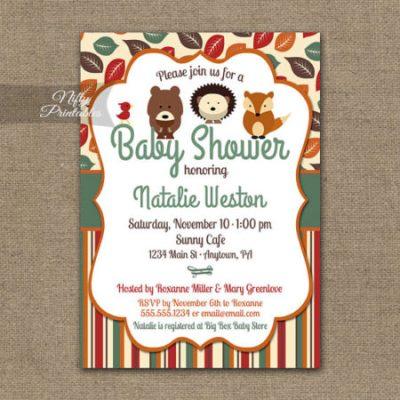 Fall animal baby shower invitation template
