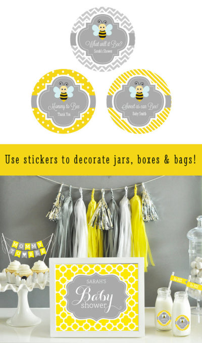 bee baby shower labels