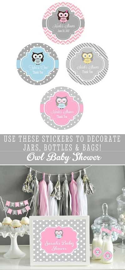 personalized owl baby shower party stickers