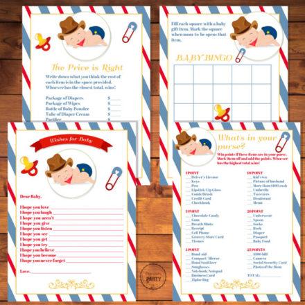 4 Digital Little Cowboy baby shower games