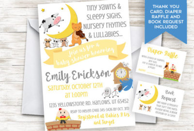 Digital Nursery Rhyme baby shower invite and game
