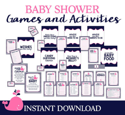 Digital Pink Whale Baby shower activities