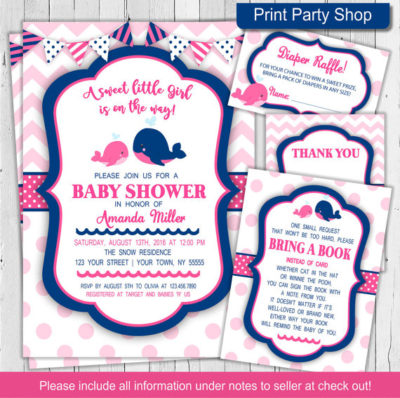 Digital Pink Whale baby shower invite & games