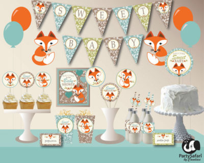 Digital fox woodland theme baby shower suite