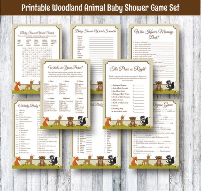 Digital woodland fox baby shower games